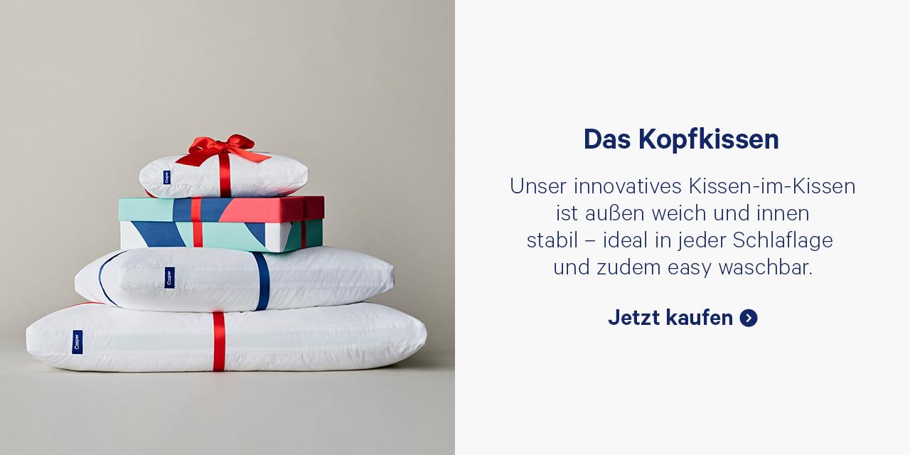 Das Kopfkissen. Unser innovatives Kissen-im0Kissen ist auβen weich und innen stabil - ideal in jeder Schlaflage und zudem easy waschbar. Jetzt kaufen.